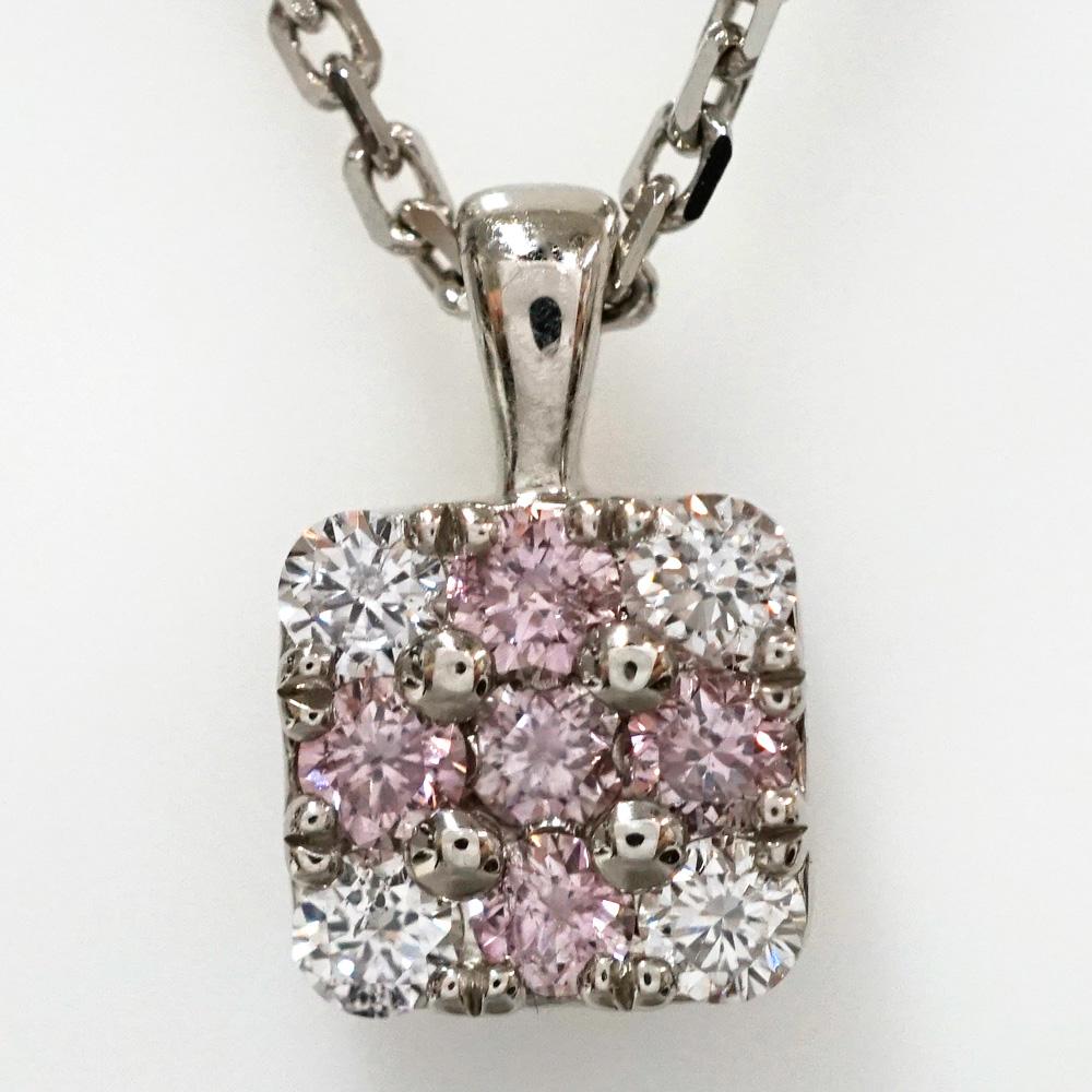 ピンクダイヤモンド クロス スクエア プラチナ パヴェ ネックレス P-87