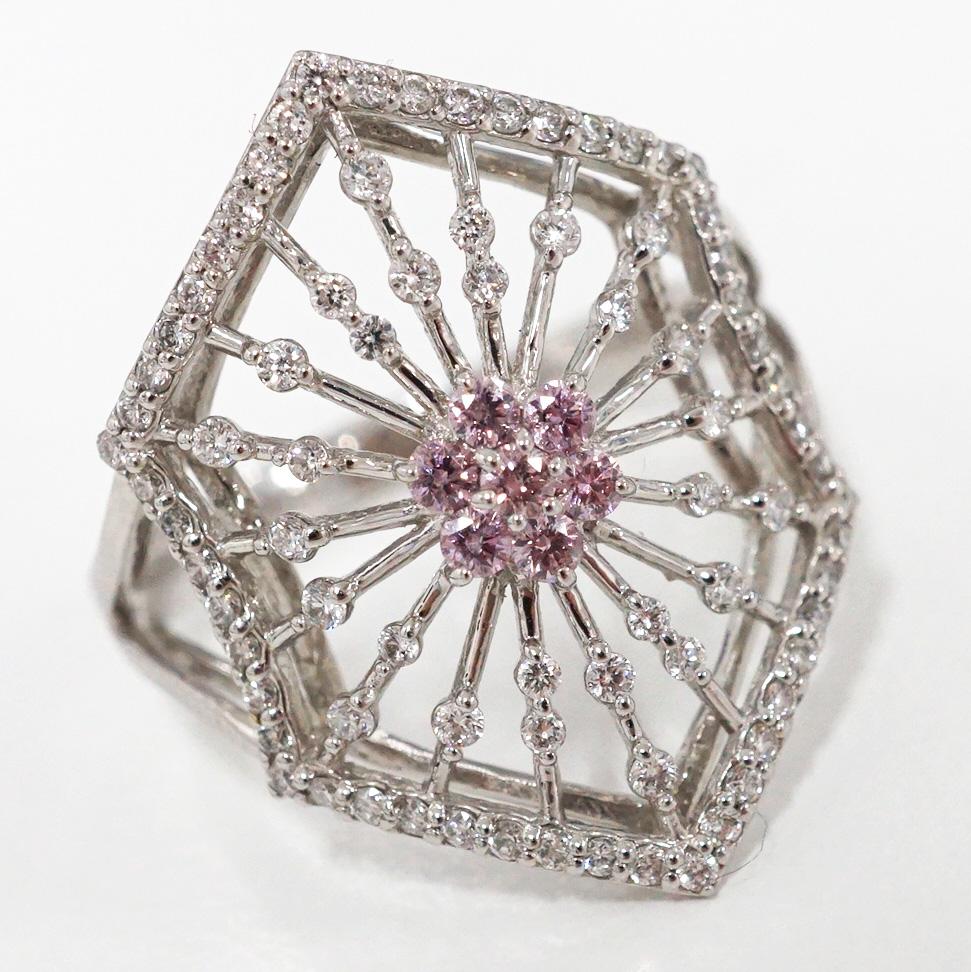 アーガイル産 天然 ピンクダイヤモンド プラチナ リング R-49