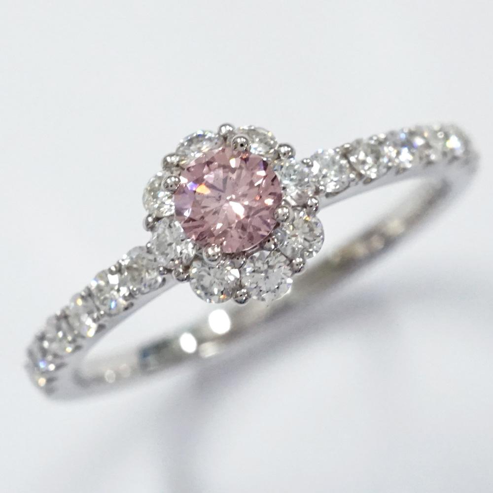 【アーガイル鉱山証明書つき】0.19カラット ファンシーインテンスピンク プラチナ ハロリング(R-180) Fancy Intense Pink