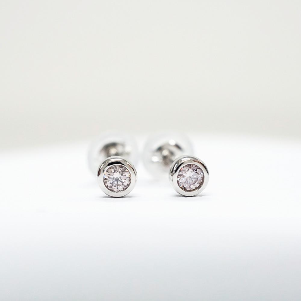 ピンクダイヤモンド プラチナ スタッド ピアス (E-10) アーガイル産ピンクダイヤ シンプルピアス