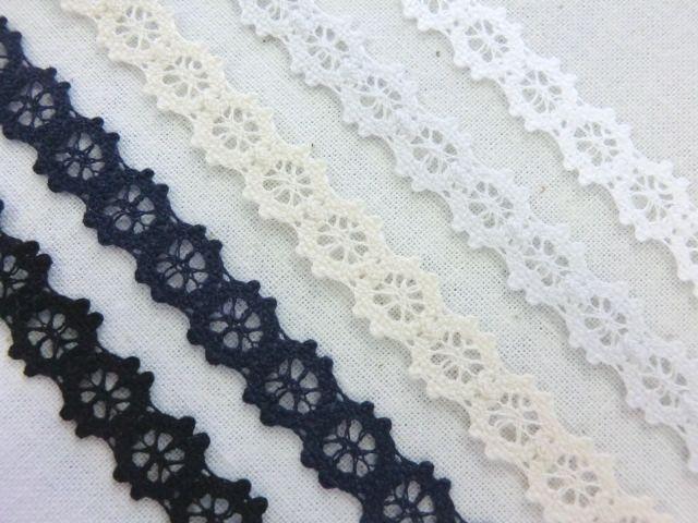 安心の日本製 カラー糸使用 店内全品対象 トーションレース 低廉 9mm幅 5色から選べます 装飾 手芸 縁取り 日本製
