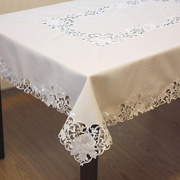 テーブルクロス 約130x230cm ローズ刺繍&カットワーク 撥水加工 【宅配便送料無料】
