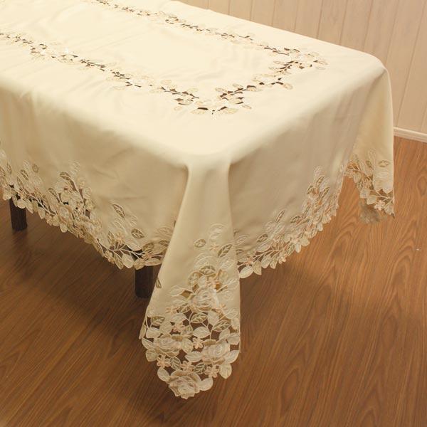 ローズ刺繍&カットワークテーブルクロス 約120x160cm(長方形4人掛け)シャンパンのような上品な色合いのコード刺繍Champagne Rose~シャンパンロゼ~【宅配便送料無料】
