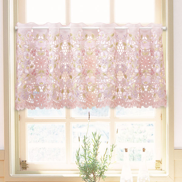 カロチャ調刺繍&カットワーク オーガンジーカフェカーテン 約120x45cm(オール刺繍)【ゆうパケット選択可】