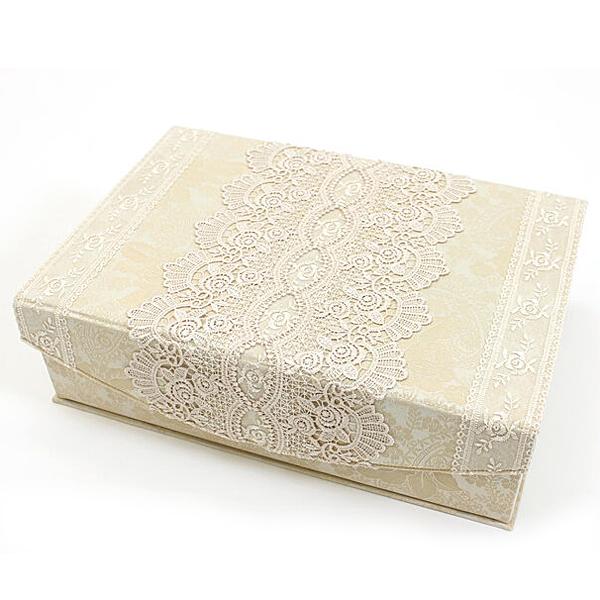gracieux ローズ柄ジャカード織&ギュピールレース カルトナージュボックスL 約25×37cm