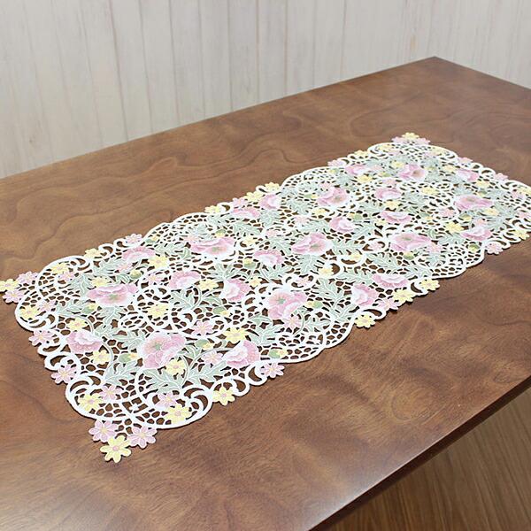 テーブルセンター 約40×90cm 刺繍 玄関 ディスプレイ インテリア【送料無料 ※沖縄県を除く】 アネモネミストラル