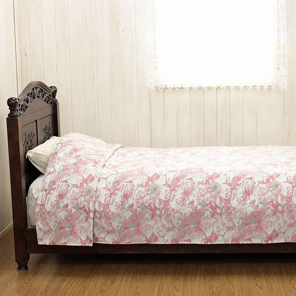 ベッドカバー(ダブル) 約220×260cm 寝室 インテリア 花柄 ピンク 明るい 華やか 可愛い 高級感 一層仕立て 掛け外しが楽 ジャカード織 【送料無料】