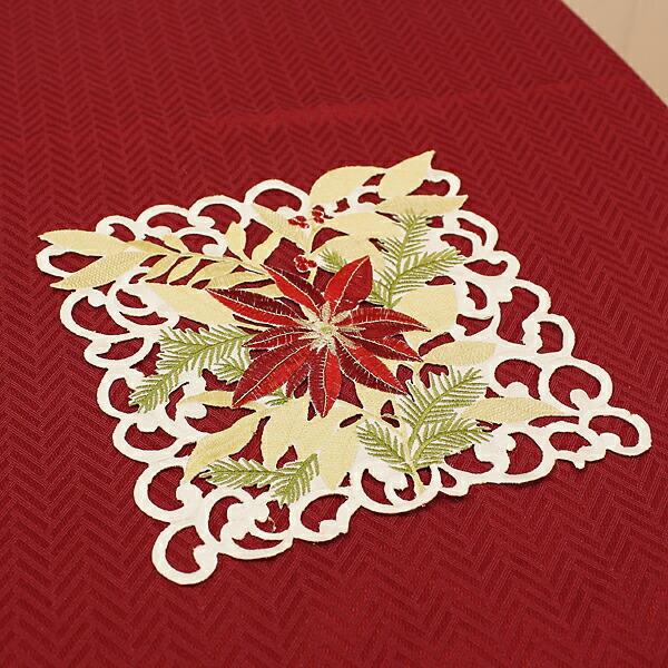 ☆ami-bruggeのクリスマス☆ ポインセチア刺繍 カットワーククリスマスドイリー 花瓶敷き 新作 ポインセチア 約25x25cm 開催中 ゆうパケット選択可