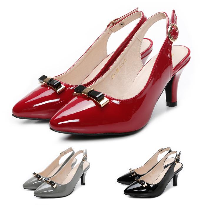 小さめリボンが辛口派にも人気 上品なツヤ感のヒールパンプスは披露宴 パーティ 学校行事にも活躍 あると便利な一足です ch-140 リボン付き エナメルパンプス ポインテッドトゥ バッグストラップ ハイヒール 高さ8.5cm ワインレッド赤 ブラック グレー 高価値 大きいサイズ 上質 P 靴 ラセリーズ レディース靴 黒 lacerise 春夏コスプレ 3L レディース