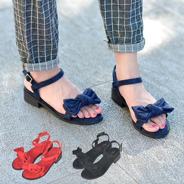大人好みのリボン☆サンダルできました ギュっとむすんだリボンがキュート スエード調の素材感が人気です ちょこっとヒールで足も疲れにくくて嬉しい ぺたんこ 新品未使用正規品 りぼんサンダル 大きいサイズ 25cm レディース靴 春夏 ワイズ 3E大きい靴 歩きやすい 疲れない ローヒール高さ3.5cm 赤 P 送料無料限定セール中 痛くない 結婚式 ff-169 スウェード レッド 青 ネイビー ストラップサンダル ブラック 黒 3e 旅行 幅広