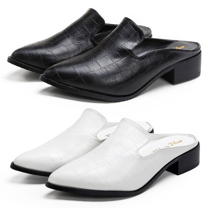 さっと履けるバブーシュタイプの上品なおじ靴 ローヒールで歩きやすいからお出かけにもおすすめ コーディネイトに合わせやすいブラックホワイト スリッポン ローファー マニッシュシューズ バブーシュ クロコ型押し 3cmヒール ブラック 黒 ホワイト白 レディース靴 人気ブランド P lacerise 大きいサイズ おじ靴 靴 ラセリーズ レディース 超美品再入荷品質至上 パンプス tm-155コスプレ 3L