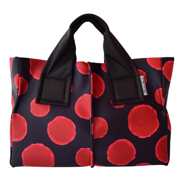 レッド 水玉 kawakawa BLACK ブラック ドット RED 赤×黒 wet kawa-kawa ハンドバッグ トートバッグM カワカワ ウェット 大容量 mizutama