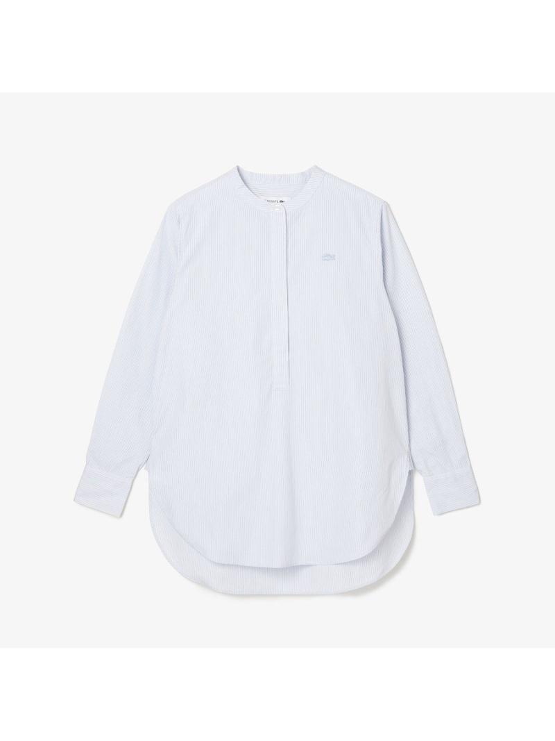 [Rakuten Fashion]ルーズフィットバンドカラーハーフボタンチュニック LACOSTE ラコステ シャツ/ブラウス 長袖シャツ ホワイト【送料無料】