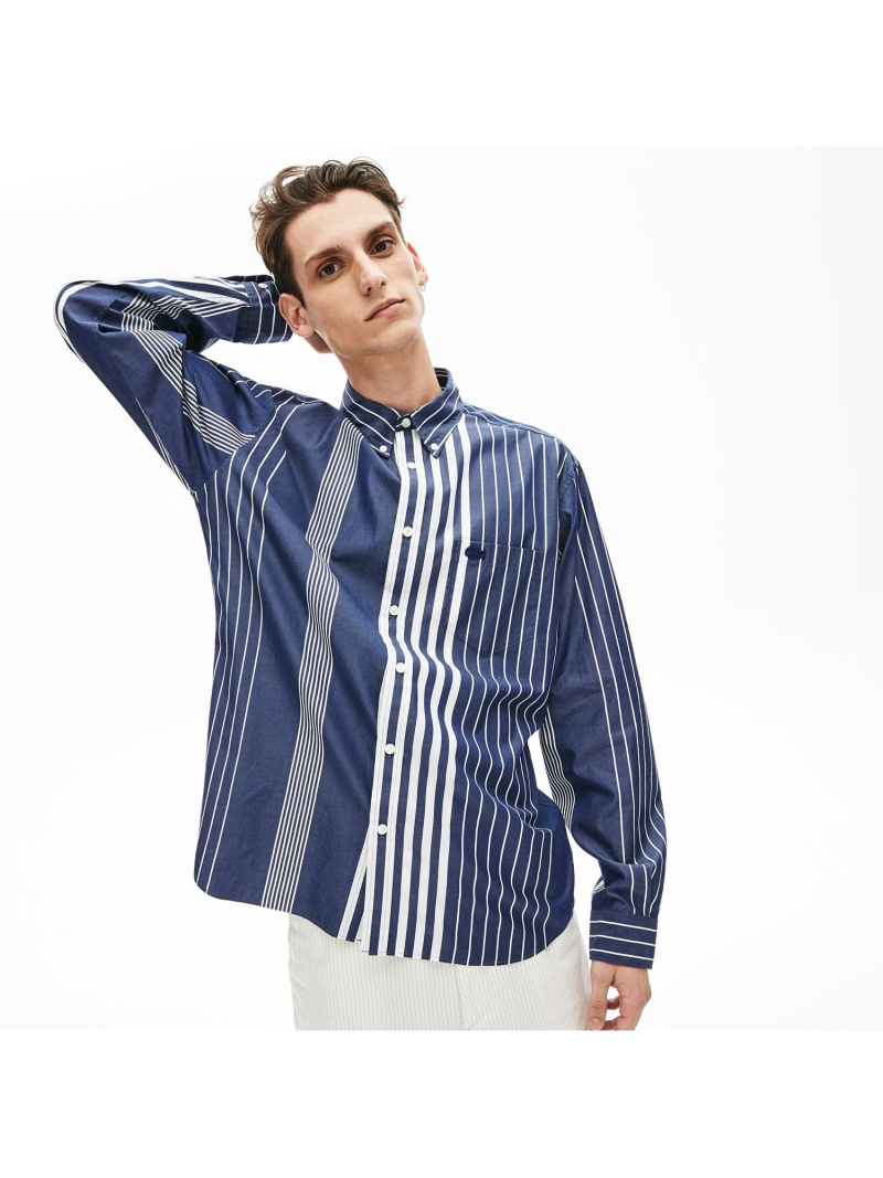 [Rakuten Fashion]【SALE/30%OFF】リラックスフィットコントラストストライプボタンダウンシャツ LACOSTE ラコステ シャツ/ブラウス 長袖シャツ【RBA_E】【送料無料】
