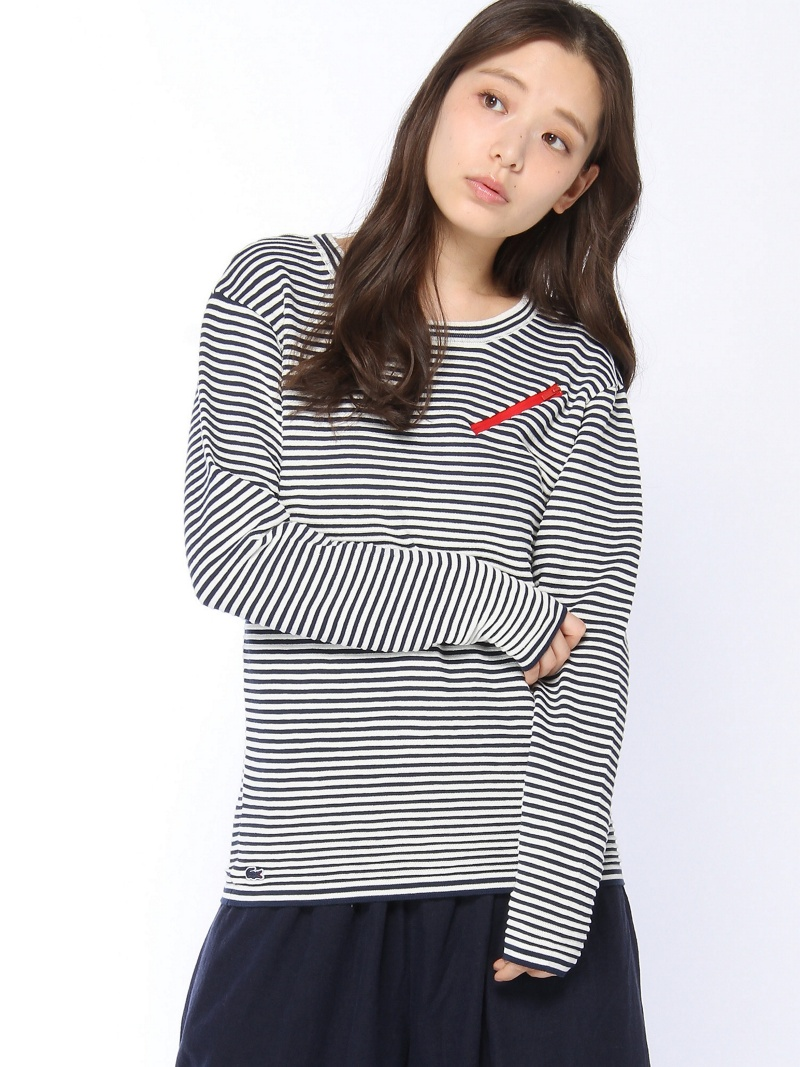 [Rakuten BRAND AVENUE](W)『Made in France』 ボーダーニット (長袖) LACOSTE ラコステ カットソー【送料無料】