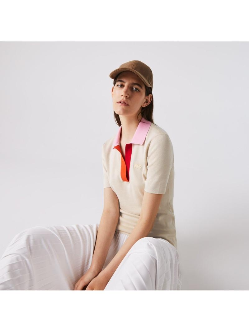 [Rakuten Fashion]ツートーンポロカラーコットンシャツ LACOSTE ラコステ カットソー ポロシャツ【送料無料】