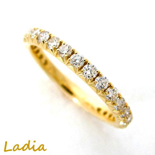 ダイヤモンド 0.7ct エタニティ リング イエローゴールド K18YG 天然 ダイヤ ダイヤリング エタニティリング 指輪 保証書付き ギフト プレゼント 送料無料 誕生日 結婚記念日 就職祝い 母の日