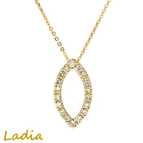 ダイヤモンド ネックレス K18YG 0.3ct ダイヤライン アーモンド マーキス マーキース イエローゴールド 18金 0.3カラット スライドアジャスター ギフト プレゼント 送料無料 誕生日 結婚記念日 保証書付き necklace 就職祝い 母の日