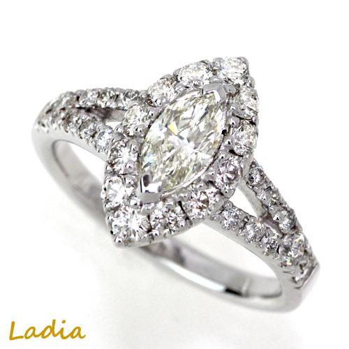 ダイヤモンド リング Pt900 マーキースカット 0.509ct Kカラー VS-1 中央宝石研究所 鑑定書 CGL プラチナ マーキスダイヤ ダイヤリング 取り巻き 指輪 0.5カラット