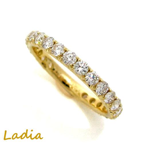 ダイヤモンド 1ct エタニティ リング イエローゴールド 天然 ダイヤ K18YG ダイヤリング エタニティリング 18金 指輪 保証書付き ギフト プレゼント 送料無料 誕生日 結婚記念日 就職祝い 母の日