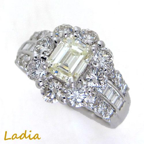 ダイヤモンド リング 0.7ct Pt900 エメラルドカット 0.771ct VLY SI2 中央宝石研究所 鑑定書 CGL ダイヤモンドリング ダイヤリング プラチナ 指輪 取り巻き