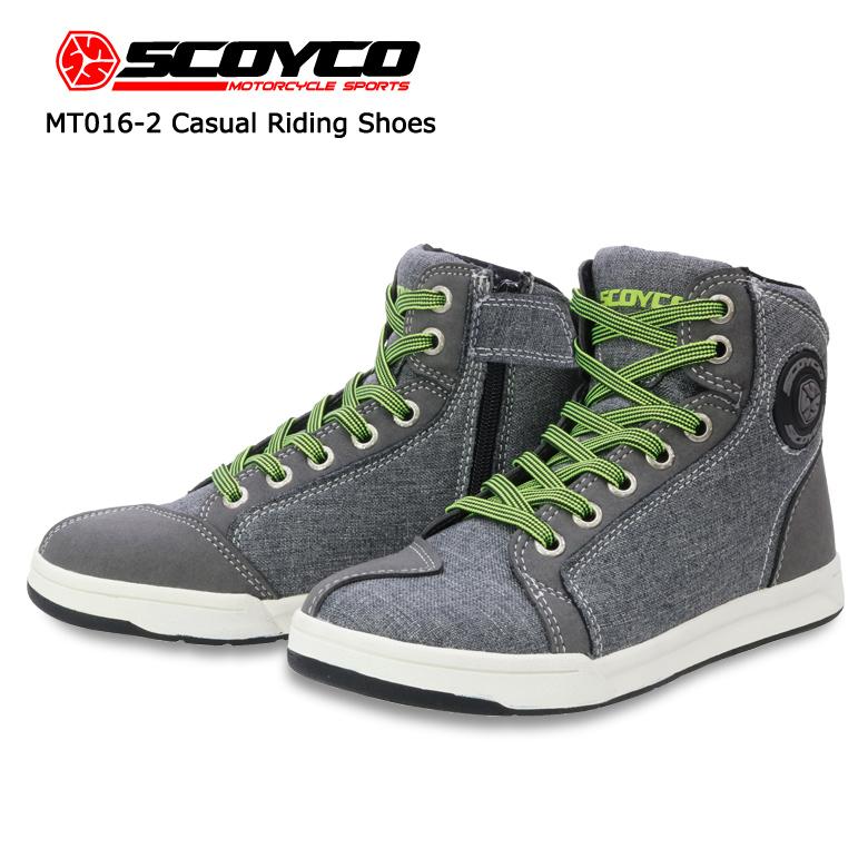 バイク用品 カジュアルライディングシューズ グレー バイク 用品 靴 人気 オールシーズン 男女兼用 SCOYCO(スコイコ) MT016-2 取寄品