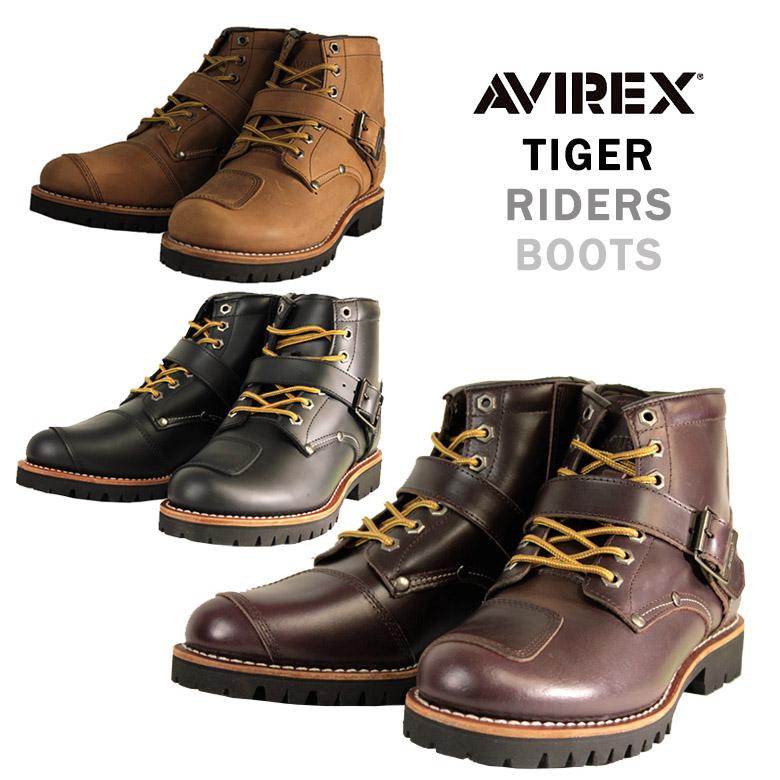 バイク シューズ ブーツ 人気おすすめ カッコいい レザー サイドジッパー 黒 茶 AVIREX(アビレックス) ライダースブーツ TIGER AV2931 取寄品