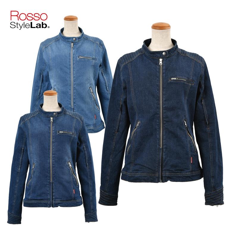 バイク用ジャケット レディース人気 おすすめ 大きいサイズ 小さいサイズ インディゴ 春夏ROSSO StyleLab(ロッソスタイルラボ)デニムライダースジャケット ROJ-91 取寄品