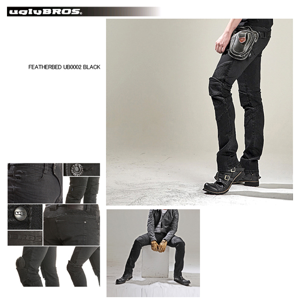 【ラフアンドロード】【ROUGH&ROAD】【uglyBROS】【MOTOPANTS FEATHERBED BLACK】【Men's】UB0002【ラフ&ロード】