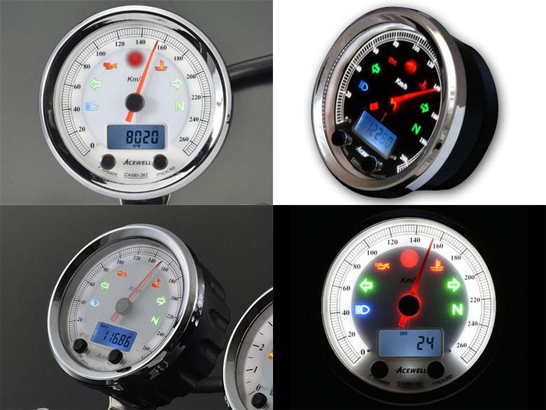 【謝恩セール】ACEWELL エースウェル 多機能デジタルメーターCA085-100 200シリーズ CA085-100 200 《スピードメーター バイク用》