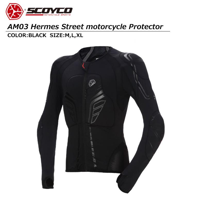 【送料無料】バイク用品 HERMESプロテクター 高い安全性 ツーリング ブラック ユニセックス SCOYCO(スコイコ) AM03