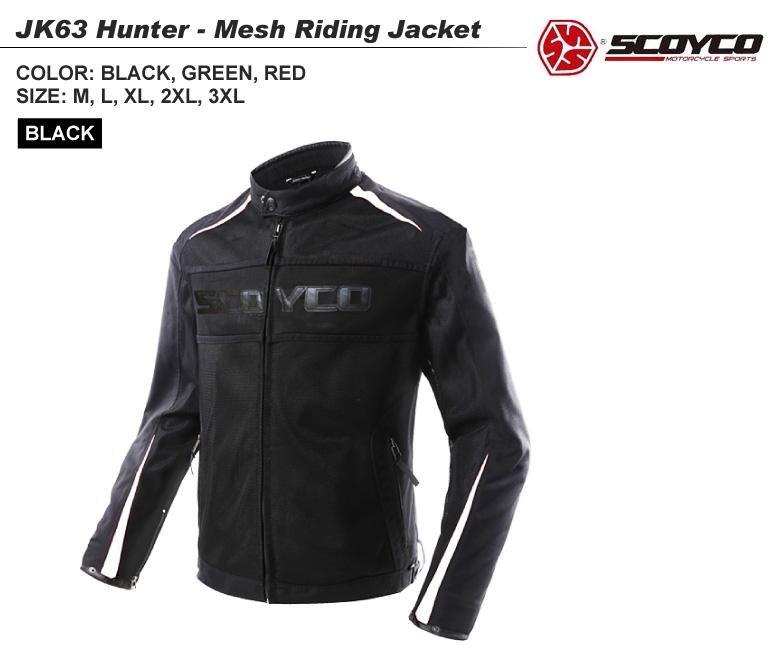 【送料無料】バイク用品 Hunterメッシュジャケット 取り外し可能 ツーリング ブラック ユニセックス SCOYCO(スコイコ) JK63