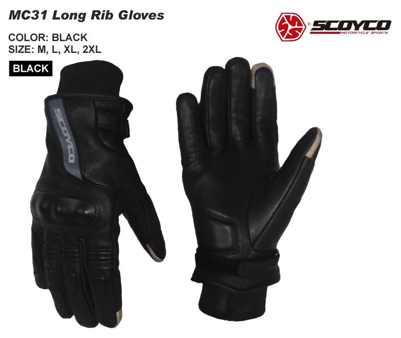 【送料無料】バイク用品 ロングリブグローブ しなやかな山羊革 ツーリング ブラック ユニセックス SCOYCO(スコイコ) MC31