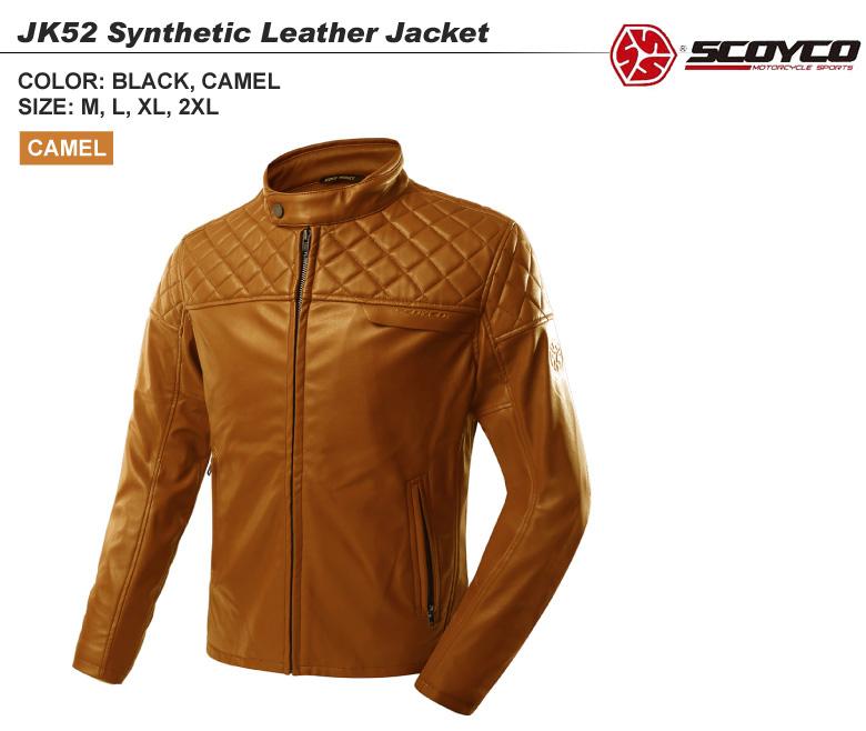 【送料無料】バイク用品 レザージャケット プロテクター 着心地いい スタイリッシュ 春 秋 キャメル SCOYCO(スコイコ) JK52
