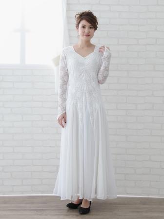 カラオケ衣装 カラオケドレス 大きいサイズ 演奏会 楽器演奏 ステージ衣装に スクエアーネックに ダイヤストーンちりばめた ゆったりモダンドレス 要尺たっぷり 白