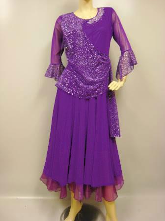 コーラス衣装 スーツ風コーラスドレス、ダイヤストーンとジルコンが豪華です 発表会 カラオケ衣装 にも活躍します パープル