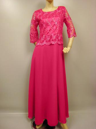 コーラス衣装 コーラスドレスハイクオリティーAラインロングドレス サテン地に豪華刺繍 チェリー