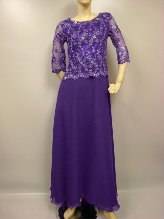 ハイクオリティーAラインロングドレス サテン地に豪華刺繍 パープル