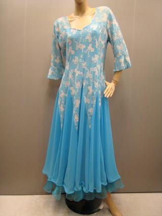 社交ダンスドレス・ステージドレス ゆったりロングドレス 青