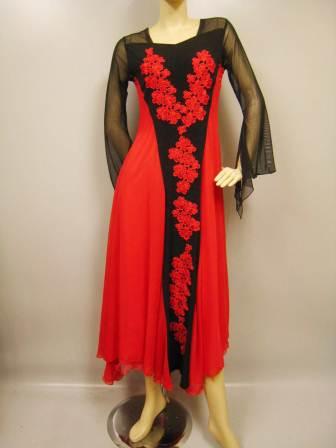 社交ダンスドレス・ステージドレス 花刺繍モダンドレス赤