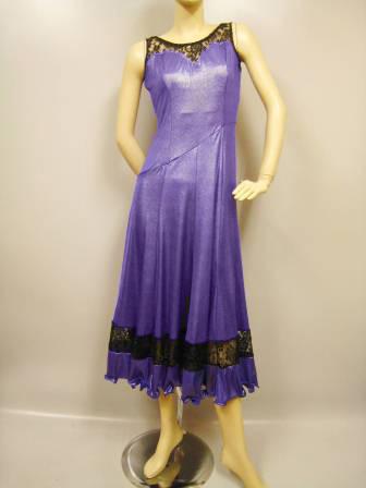 社交ダンスドレス・ステージドレス ノースリーブドレス パープル