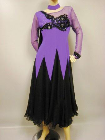 カラオケ衣装 カラオケドレス 大きいサイズ 演奏会 楽器演奏 ステージ衣装に ハイクオリティー刺繍モダンドレス パープル