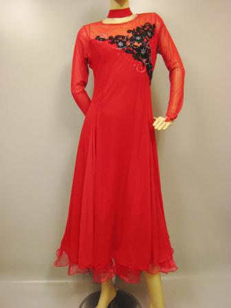 社交ダンスドレス・ステージドレス 刺繍ジョーゼットモダンドレス赤