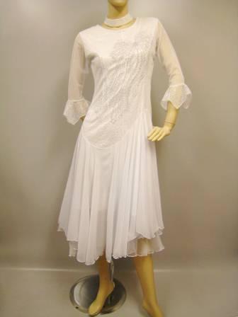 社交ダンスドレス・ステージドレス ジルコン飾りモダンドレス 白