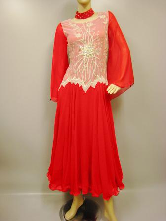 コーラス衣装 コーラス ドレス 衣装 MからLサイズ対応 ダイヤストーンレース刺繍モダンドレス 赤