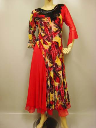コーラス衣装 コーラスドレス スーツ カラオケ衣装 ステージドレス プリント切り替えモダンダンスドレス 赤