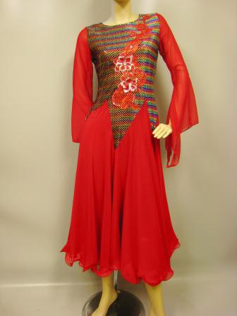 コーラス衣装 コーラスドレス スーツ カラオケ衣装 ステージドレス 貼りスパン花刺繍モダンドレス 赤