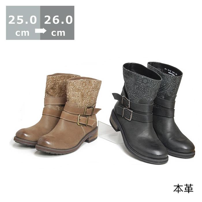 【セール】【送料無料】デザインショートブーツ25cm/25.5cm/26cm ヒール 4cm ブラック/オーク 革 ショートブーツ ブーティ ラウンドトゥ ベルト レディースシューズ 婦人靴