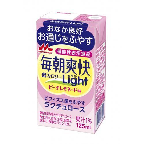 森永乳業 毎朝爽快LIGHT 125ml×12個 休み ピーチレモネード味 市販