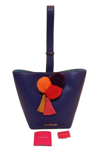 samantha vega(サマンサベガ) ボンボン付き レザーショルダーバッグ  ブルー 新品未使用 SALE セール       [中古] 販売枠で出品中